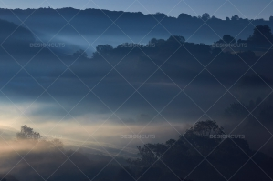 Misty British Country Hillsides At Dawn No. 19