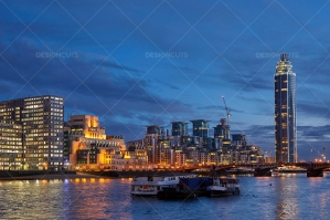 London Skyline On Thames At Nightfall