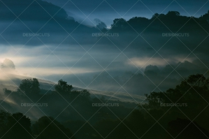 Misty British Country Hillsides At Dawn No. 20