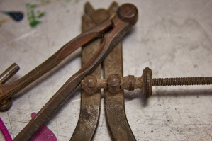 Closeup Of Rusted Woodwork Tools On Work Surface