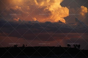 Cloudy Sunset Over Kalahari Desert, Botswana