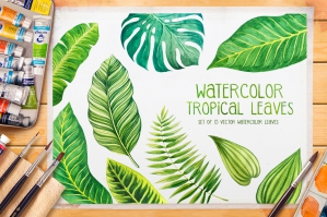 Tropical Leaves Watercolor Vector