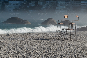 High Chairs Sat On Cape Town Beach Look Out Onto Sea