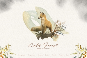 Cold Forest - Winter Graphic Watercolor Set