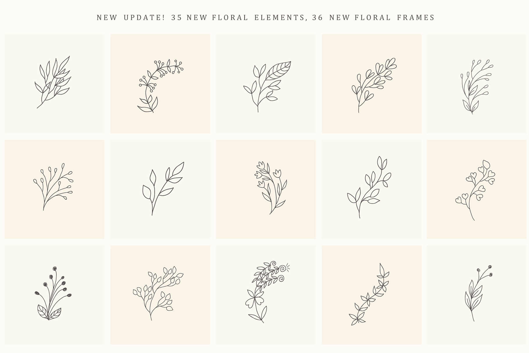 200 Hand Drawn Floral Elements And Frames