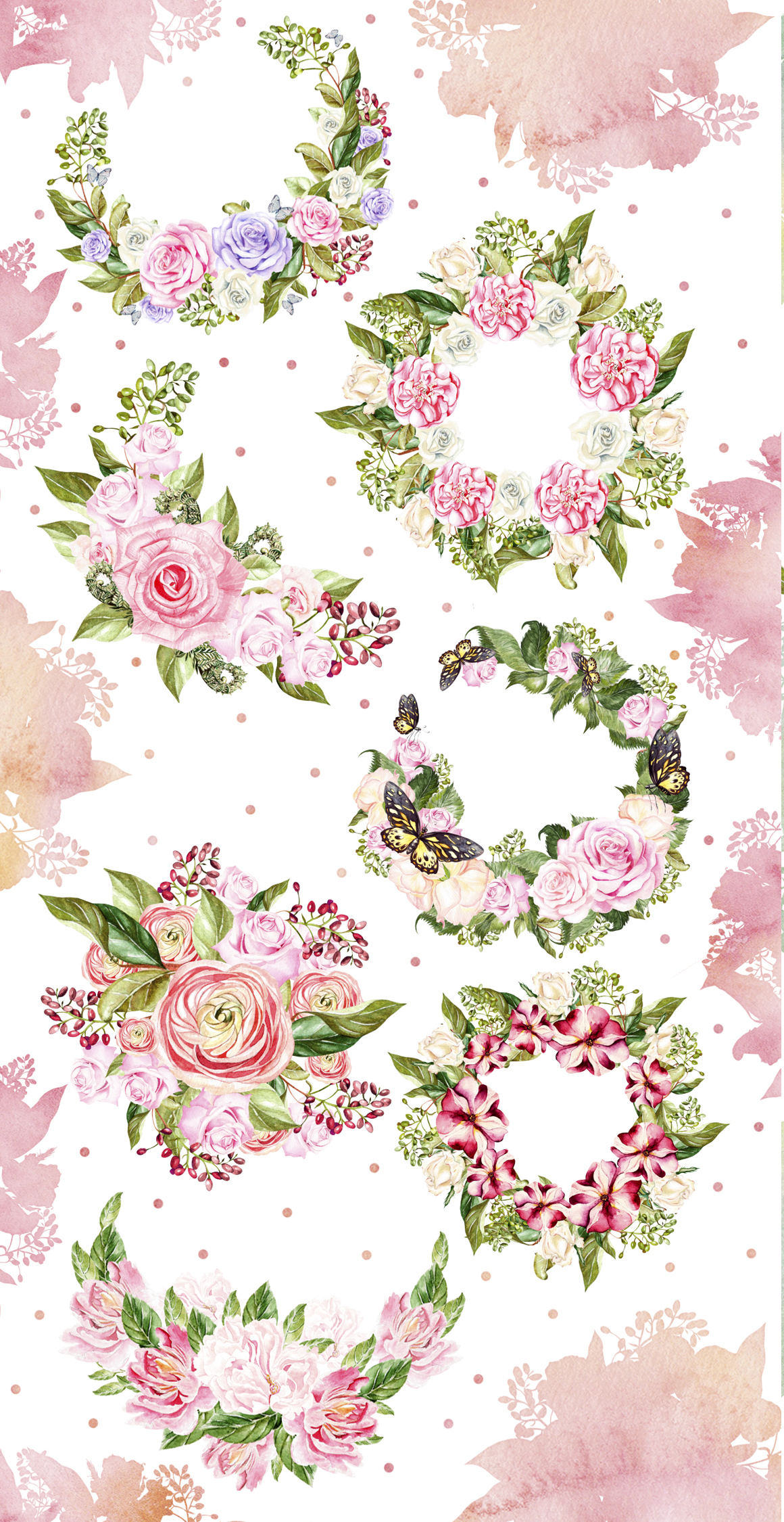 45 Hand Drawn Watercolor Bouquet & Wreath Pack