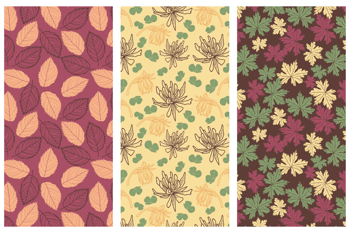50 Hand-drawn Floral Elements and Patterns