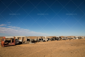 A Line Of Abandoned Cars In The Sahara Desert No.1