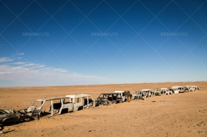 A Line Of Abandoned Cars In The Sahara Desert No. 2