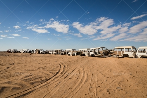 A Line Of Abandoned Cars In The Sahara Desert No. 3
