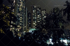 A View Through Trees Of Hong Kong's Skyline Lit Up At Night