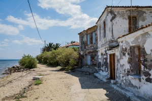 Abandonded Houses Along The Waterfront In Lesvos