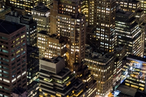 Aerial View Of New York City Skyscrapers Lit Up At Night No. 2