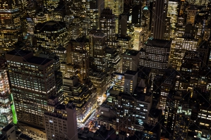 Aerial View Of New York City Skyscrapers Lit Up At Night No. 3