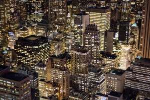 Aerial View Of New York City Skyscrapers Lit Up At Night No. 4