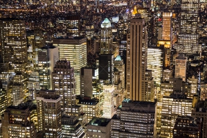 Aerial View Of New York City Skyscrapers Lit Up At Night No. 5