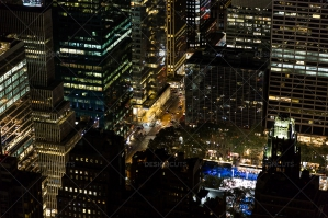 Aerial View Of New York City Skyscrapers Lit Up At Night No. 8