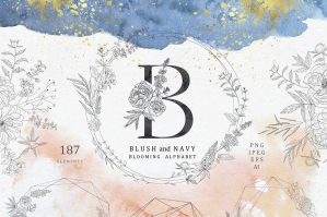 Blush & Navy - Blooming Alphabet