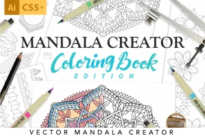 Coloring Book Mandala Illustration Creator