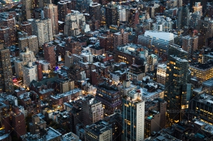 Evening Aerial View Of The New York Skyline