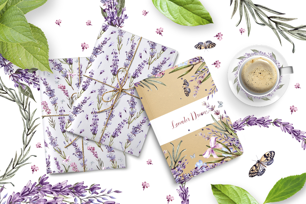 Hand Drawn Watercolor Lavender Flowers Pack
