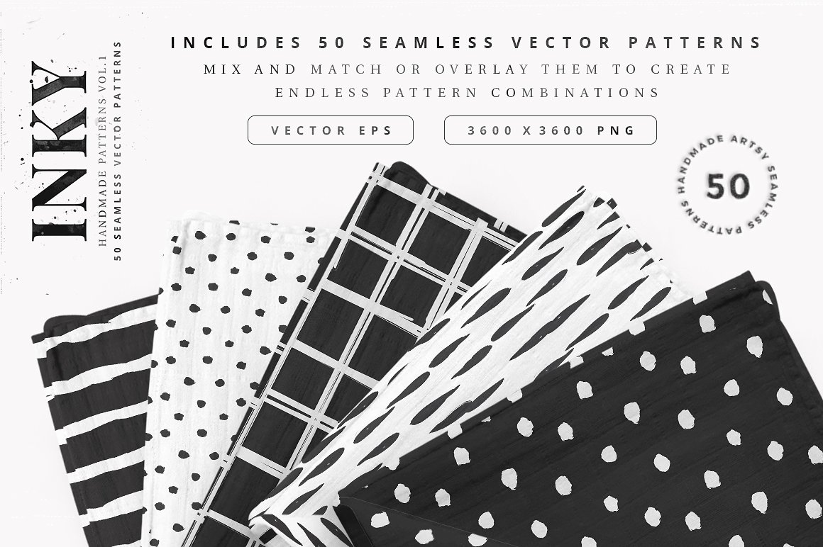 Inky - 50 Seamless Vector Patterns