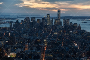 Manhattan Skyline From The Empire State Building New York At Sunset No. 3
