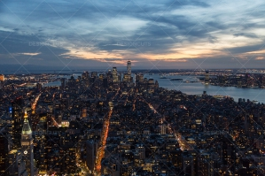 Manhattan Skyline From The Empire State Building New York At Sunset No. 4