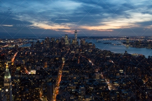 Manhattan Skyline From The Empire State Building New York At Sunset No. 5