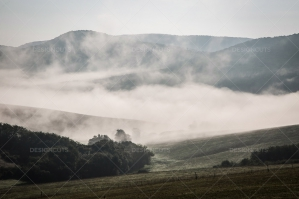 Mist Clearing In The Valleys Around Hollókő In Hungary No. 2