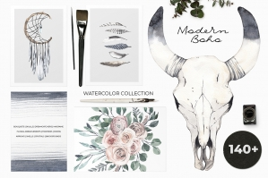 Modern Boho: Pale Watercolor Set