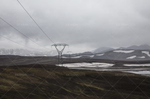 Pylons Leading Through The Lava Fields And Snow Of Landmannalaugar No. 1