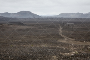 Pylons Leading Through The Lava Fields And Snow Of Landmannalaugar No. 2