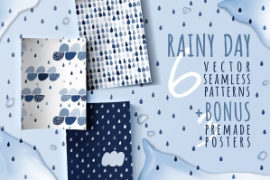 Rainy Day, 6 Seamless Patterns
