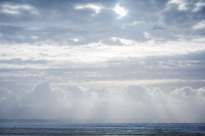 Rays Of Sunlight Shining Through The Clouds Onto On The Sea At Saunton Sands, Devon No. 1