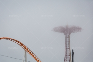 Parachute Jump Hidden In Mist No. 2