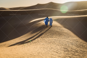 Sahrawi Nomads Walk Along A Sand Dune In The Sahara Desert No. 10