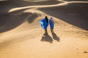 Sahrawi Nomads Walk Along A Sand Dune In The Sahara Desert No. 11