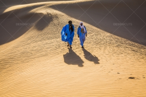 Sahrawi Nomads Walk Along A Sand Dune In The Sahara Desert No. 13
