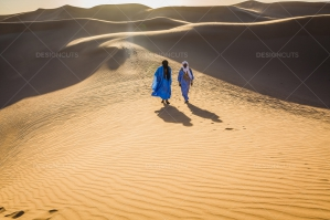 Sahrawi Nomad Walk Along A Sand Dune In The Sahara Desert No. 14