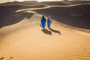 Sahrawi Nomad Walk Along A Sand Dune In The Sahara Desert No. 15