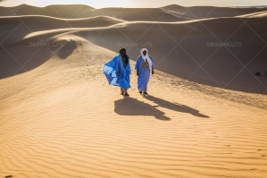 Sahrawi Nomad Walks Along A Sand Dune In The Sahara Desert No. 17