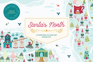 Santa's North Christmas Village Map Design Set