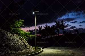 Streetlight Lighting Up The Path At Twilight