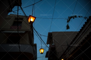 Streetlights Of Mytilini At Night