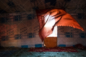Traditional Nomad's Tent In The Sahara Desert