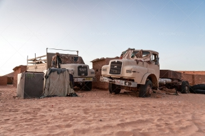 Two Old Trucks Abandoned In The Sahara Desert