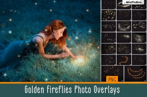 Free: Golden Fireflies Photo Overlays