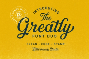 Greatly Font Duo & Logo Templates