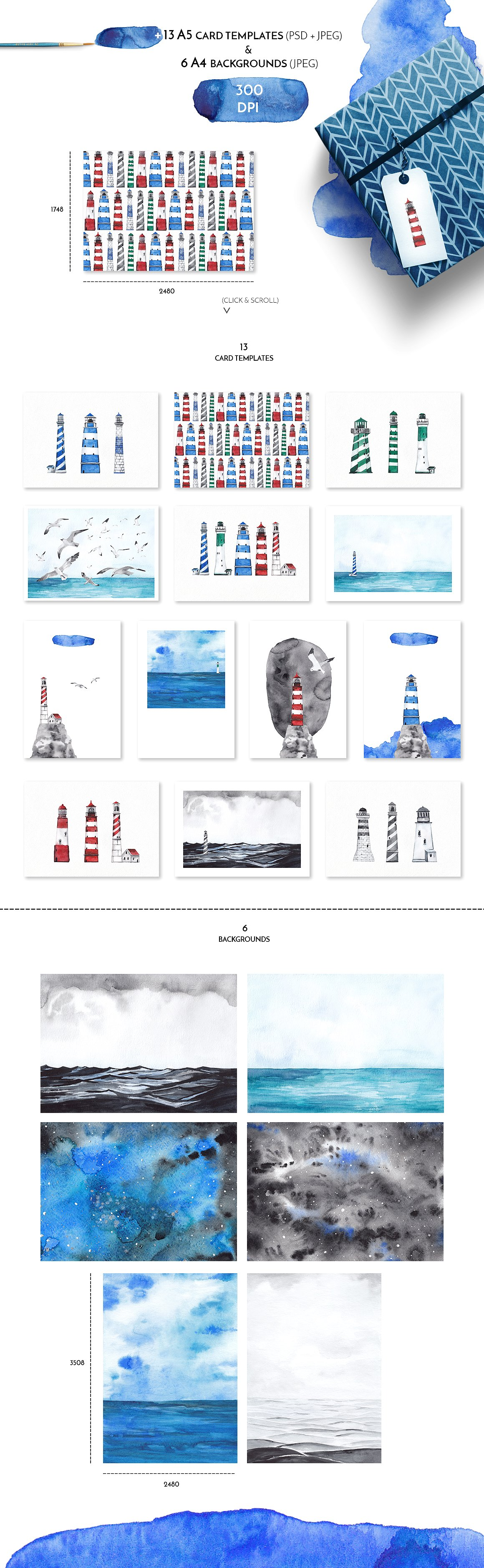 Lighthouse Keeper - Marine Watercolor Collection
